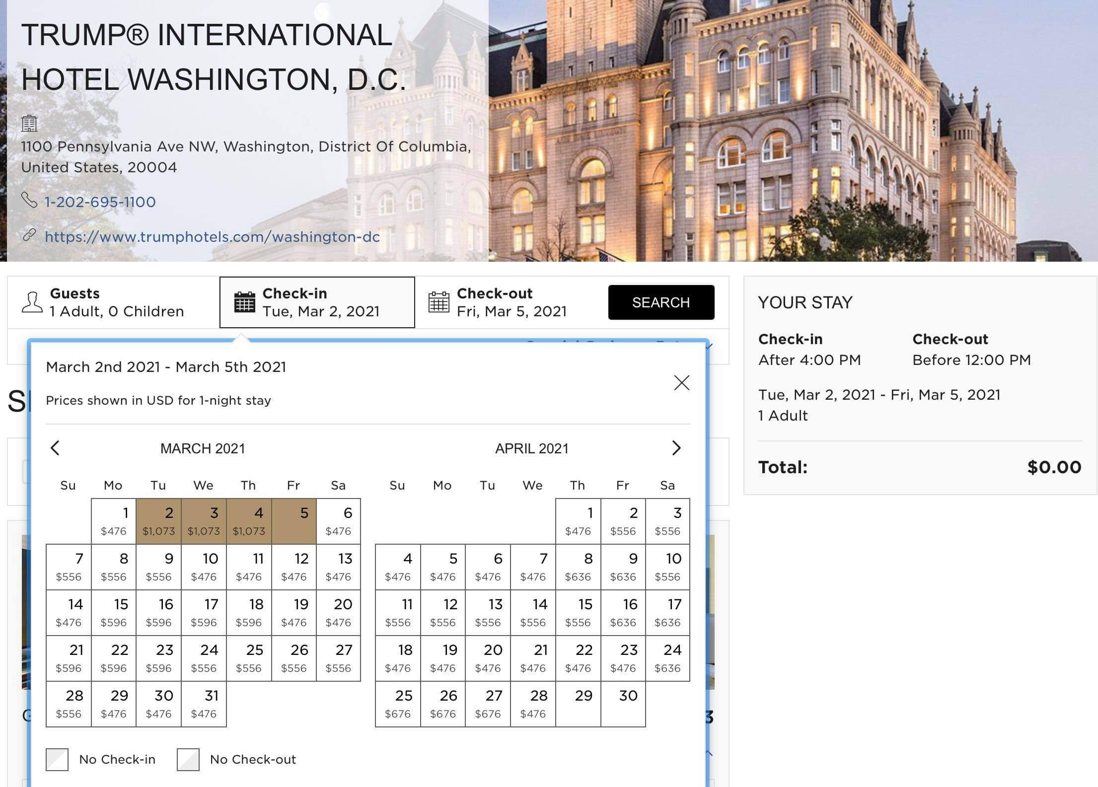 Example of Trump Hotel Invoice With Dates